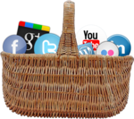 Basket of social media icons